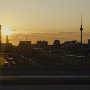 Berlin sunset cityscape